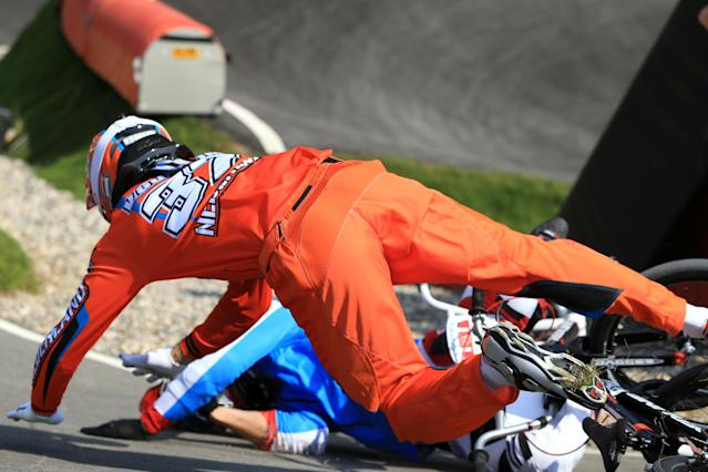 LONDON, ENGLAND - AUGUST 09: Jelle Van Gorkom of Netherlands crashes during the Men's BMX Cycling Quarter Finals on Day 13 of the London 2012 Olympic Games at BMX Track on August 9, 2012 in London, England. (Photo by Phil Walter/Getty Images)