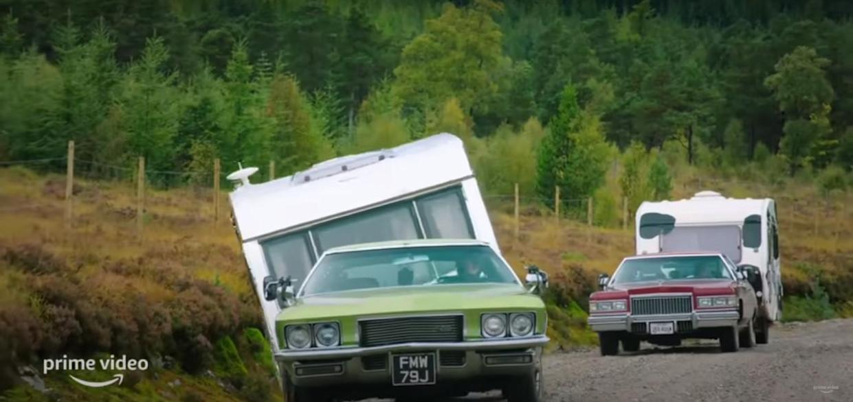 Jeremy Clarkson lost control of his caravan on the winding roads of Scotland filming 'The Grand Tour'. (Amazon Prime)