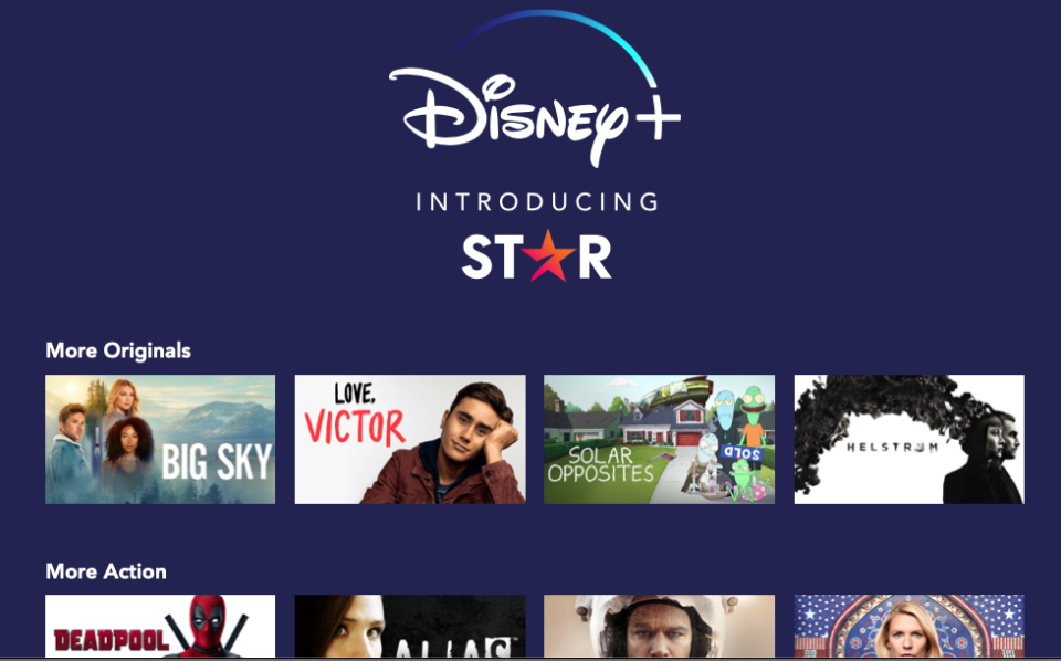 A screenshot of the homepage for Star on Disney+
