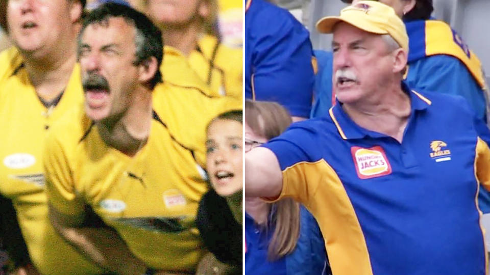The West Coast Eagles fan, pictured here in 2006 and 2020.