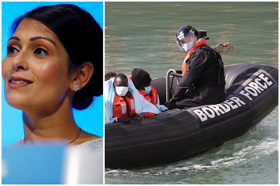 Priti Patel, left, has been accused of 'Trump-like' criticism of immigration lawyers, as more migrants were held in Dover on Thursday, right. (Getty Images/PA)