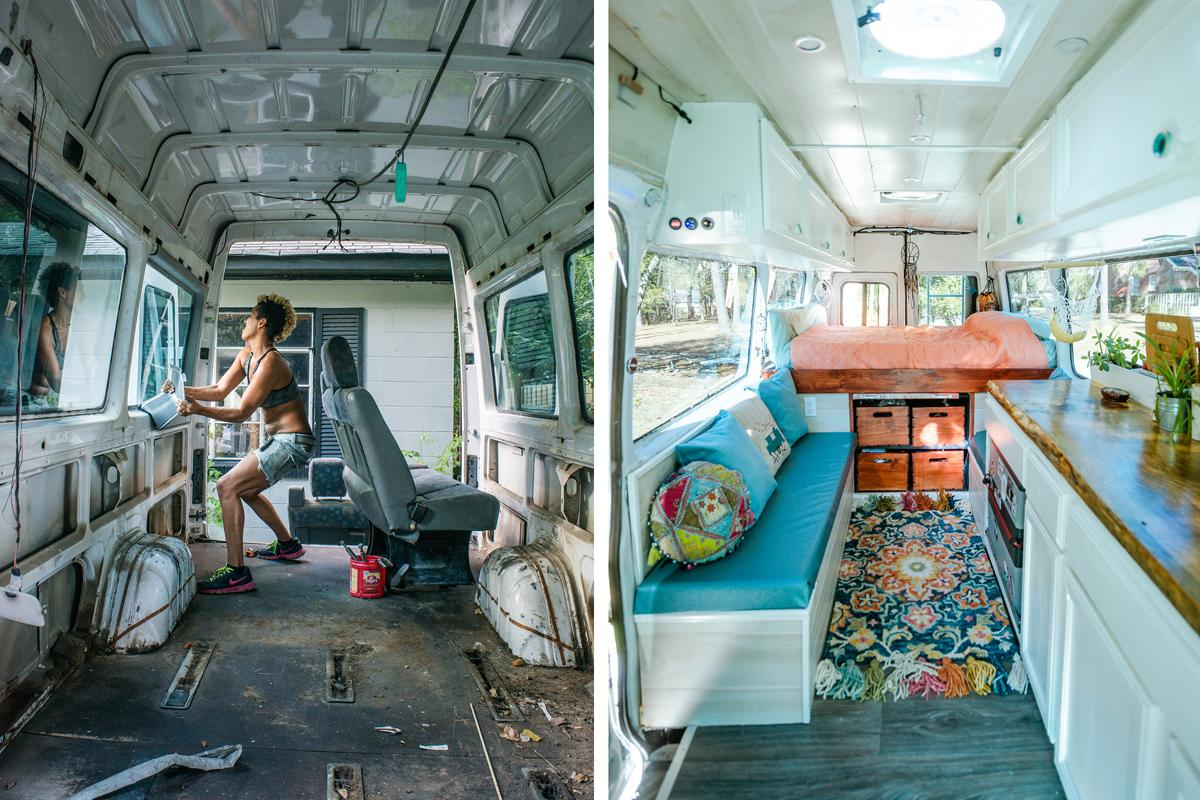 The Rodriguezes spent a year and a half building out their Sprinter van — which also afforded them time to save up for going on the road. Photo courtesy of Abigail Rodriquez
