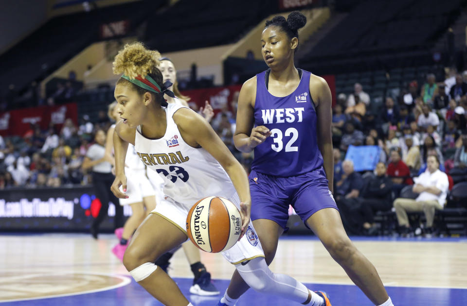Central's Jada Williams (33) drives around the West's Judea Watkins (32) during the US Girls Championship game at ESPN Wide World of Sports Complex. Mandatory Credit: Reinhold Matay-USA TODAY Sports