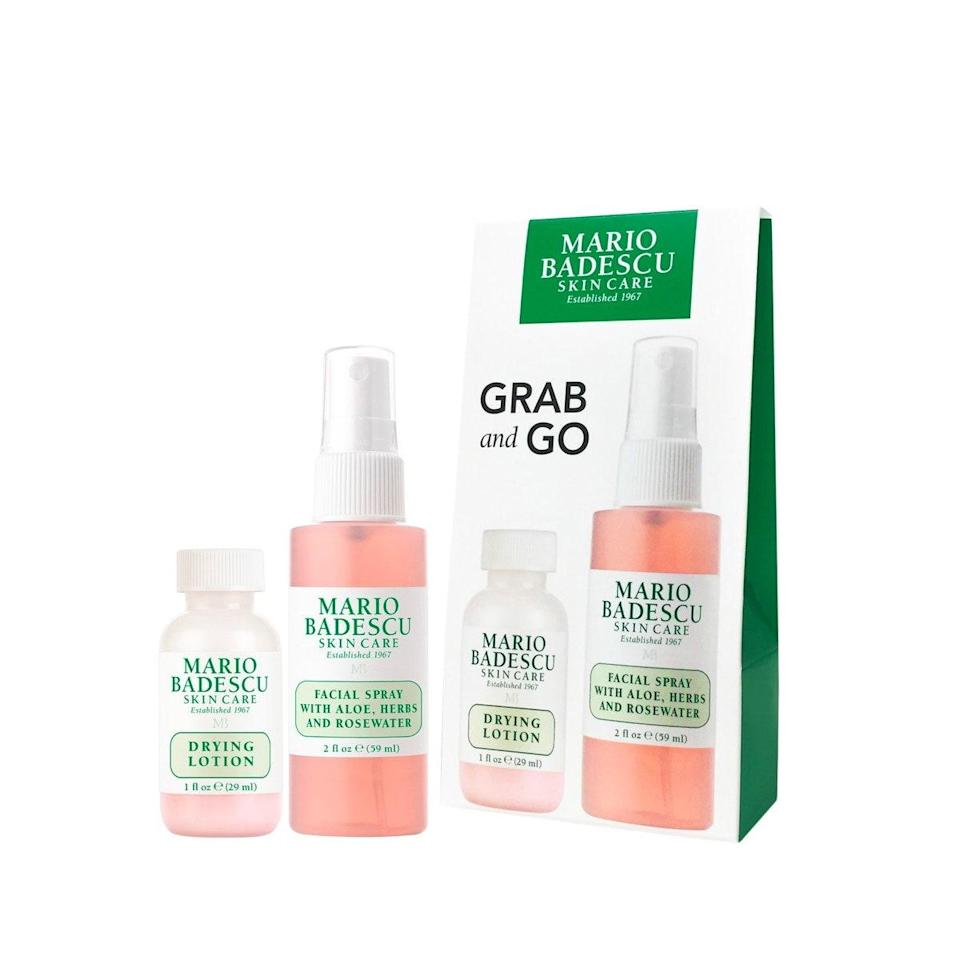 """You really cannot go wrong with this travel set from Mario Badescu, which pairs up two of the brand's most beloved products. The Drying Lotion helps to zap zits overnight, while the Facial Spray is the perfect any time mist. $22, Ulta. <a href=""""https://shop-links.co/1716512685878716950"""" rel=""""nofollow noopener"""" target=""""_blank"""" data-ylk=""""slk:Get it now!"""" class=""""link rapid-noclick-resp"""">Get it now!</a>"""
