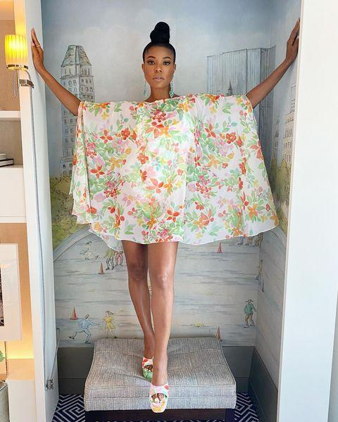 """<p>Ahead of her red carpet appearance Union shared a photo of herself wearing a floral Samantha Black-designed dress on Instagram. </p><p><a href=""""https://www.instagram.com/p/CTxgQiOPa0f/"""" rel=""""nofollow noopener"""" target=""""_blank"""" data-ylk=""""slk:See the original post on Instagram"""" class=""""link rapid-noclick-resp"""">See the original post on Instagram</a></p>"""