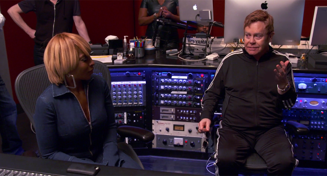 Mary J. Blige and Elton John in the studio (Photo: Paramount)
