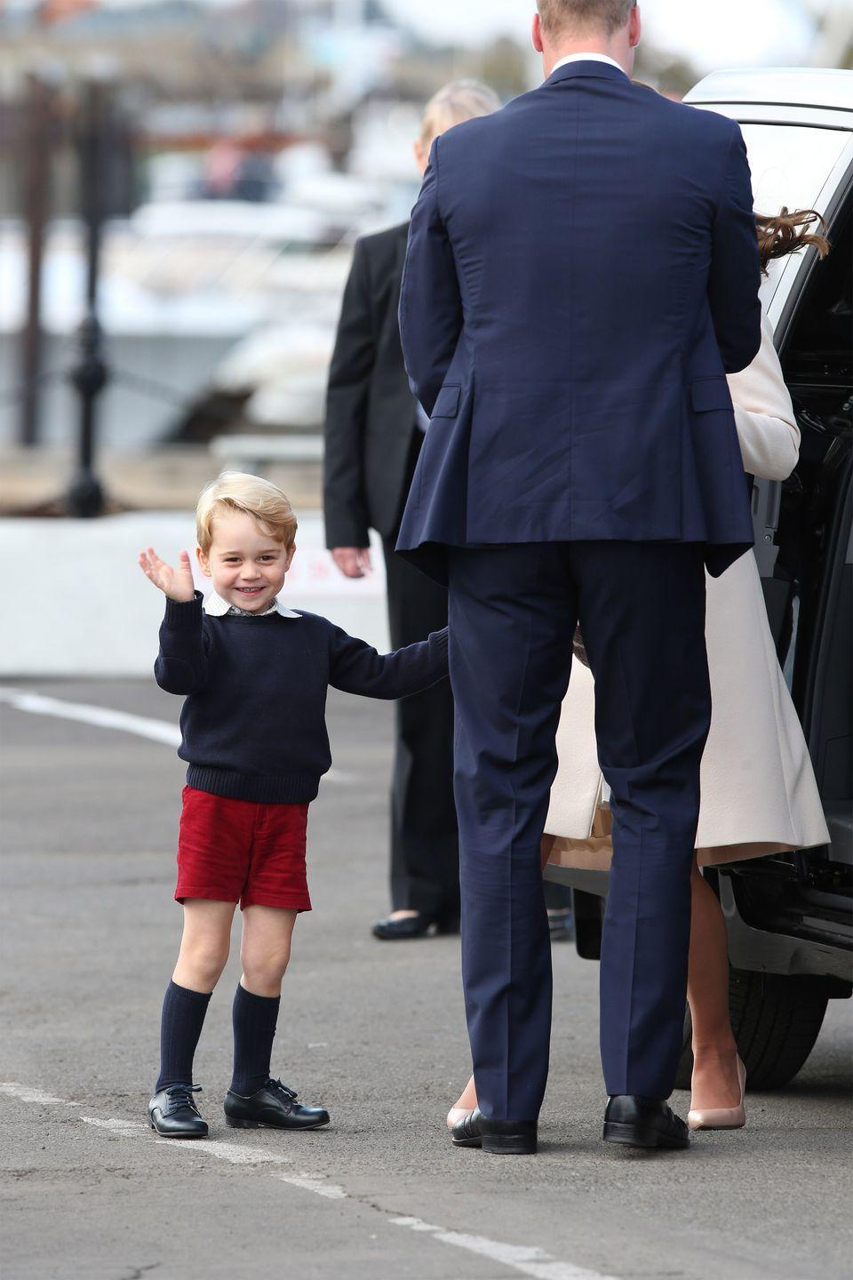 <p>Prince George smiles and waves as he leaves Victoria Harbour to board a seaplane on the final day of their Royal Tour of Canada.</p>