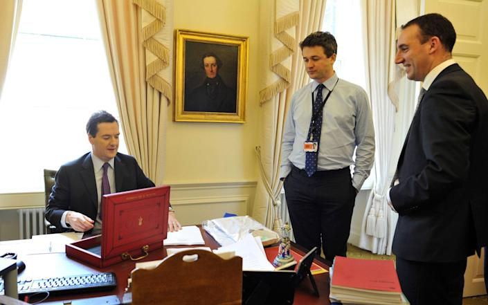 Dan Rosenfield (far right) looks on as George Osborne prepares his 2011 Budget - Andrew Parsons / i-Images/Andrew Parsons / i-Images