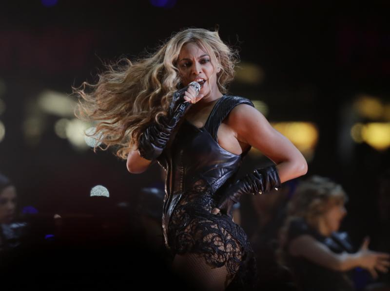 Beyonce performs during the halftime show of the NFL Super Bowl XLVII football game between the San Francisco 49ers and the Baltimore Ravens, Sunday, Feb. 3, 2013, in New Orleans. (AP Photo/Matt Slocum)