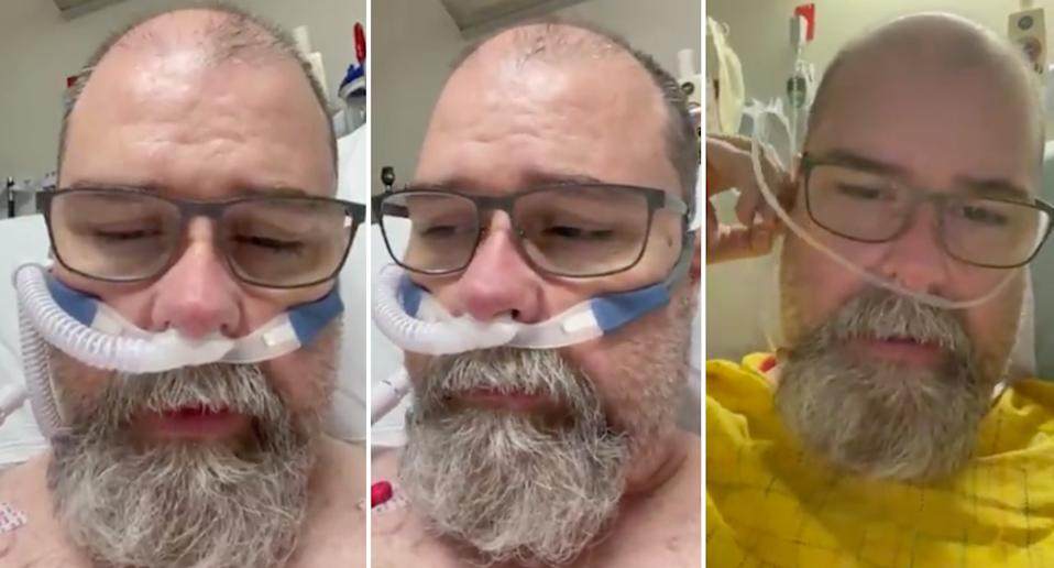 former Covid skeptic Chuck Stacey tweets from his hospital bed as he battles covid and admits 'i was wrong'