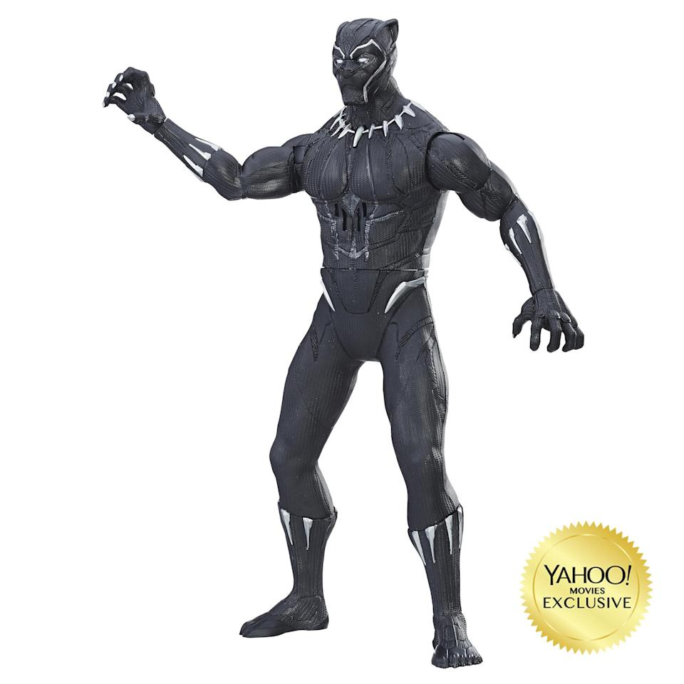 "<p>""Kids can imagine slashing into combat as Black Panther with this 13-inch electronic figure! Simply pull back and release the Black Panther figure's arm to activate lights and sounds, allowing kids to imagine him striking down on his enemies in battle. Features more than 20 phrases and sounds, and comes equipped with Vibranium-grade technology as seen in the film."" $29.99 (Photo: Hasbro) </p>"