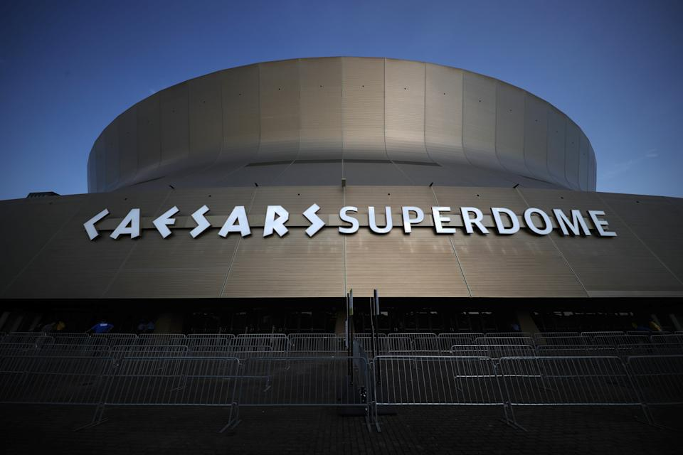 NEW ORLEANS, LOUISIANA - AUGUST 23: An exterior view of the Caesars Superdome on August 23, 2021 in New Orleans, Louisiana. (Photo by Chris Graythen/Getty Images)