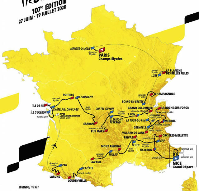 This photo provided Tuesday, Oct.15, 2019 in Paris by ASO (Amaury Sport Organisation) shows the roadmap of the Tour de France 2020 cycling race that will take place place from June 27 to July 19 2020. Like a giant roller-coaster from start to finish over five mountain ranges, next year's Tour de France will feature new summits and only a few time-trial kilometers. (ASO via AP)