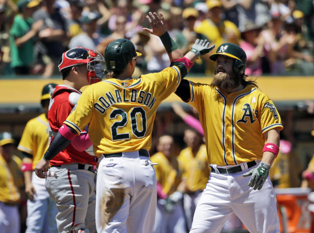 Oakland Athletics' Derek Norris, right, celebrates his three-run home run with teammate Josh Donaldson (20) during the first inning of a baseball game against the Washington Nationals, Sunday, May 11, 2014, in Oakland, Calif. (AP Photo/Marcio Jose Sanchez)