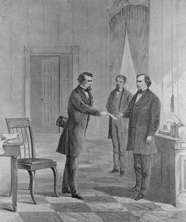 George T. Brown, sergeant-at-arms of the Senate, serves the summons on President Johnson.