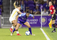 ORLANDO, FL - APRIL 27: Orlando Pride defender Carson Pickett (16) during the NWSL soccer match between the Orlando Pride and Utah Royals on April 27, 2019 at Orlando City Stadium in Orlando, FL. (Photo by Andrew Bershaw/Icon Sportswire via Getty Images)