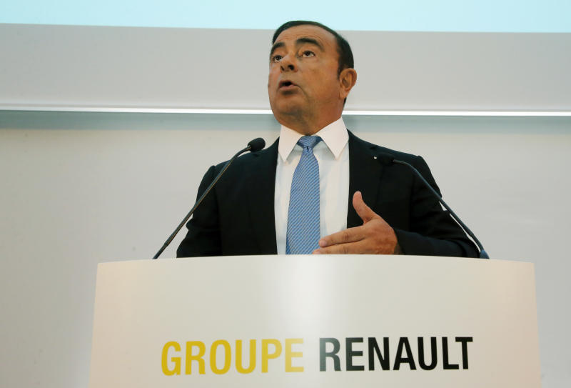 "Renault Group CEO Carlos Ghosn speaks during a media conference at La Defense business district, outside Paris, France, Friday, Oct. 6, 2017. French carmaker Renault says half of its models will be electric or hybrid by 2022 and it's investing heavily in ""robo-vehicles"" with increasing degrees of autonomy. (AP Photo/Michel Euler)"
