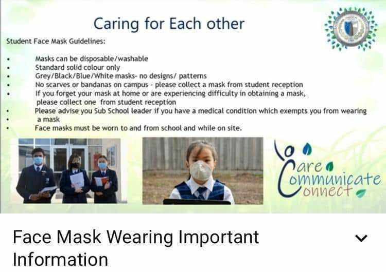 The school requires students' face masks to be one of four colours only. Photo: Lighthouse Christian College.