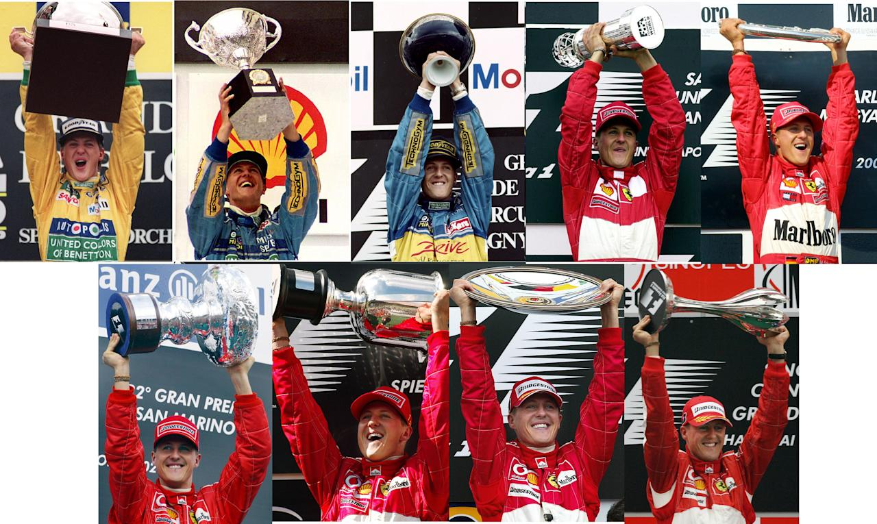 (FILES) This combo shows German driver Michael Schumacher holding his trophy after winnning several F1 Grand Prix on (L-R) August 30, 1992, March 24, 1994, July 02,1995, September 24, 2000, August 19, 2001, April 14, 2002, May 18, 2003, March 07, 2004 and October 01, 2006 . Seven-time world champion Michael Schumacher confirmed on October 4, 2012 that he will retire for the second time at the end of 2012. AFP PHOTO-/AFP/GettyImages