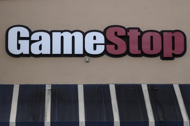 A GameStop store logo is pictured on a building in North Miami, Florida