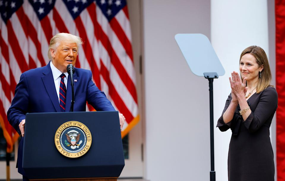 President Donald Trump announces Judge Amy Coney Barrett to fill the Supreme Court seat left vacant by the death of Justice Ruth Bader Ginsburg, at the White House, Sept. 26. (Photo: Carlos Barria / Reuters)