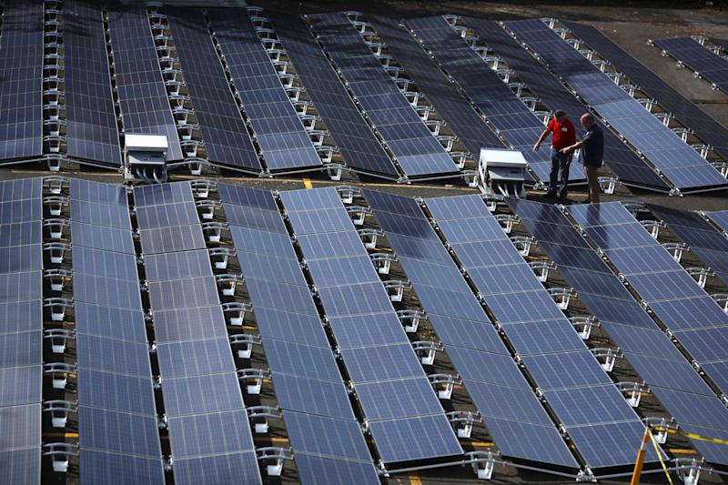 Solar panels that had been set up by Tesla are seen at the San Juan Children's Hospital in October. (Alvin Baez / Reuters)