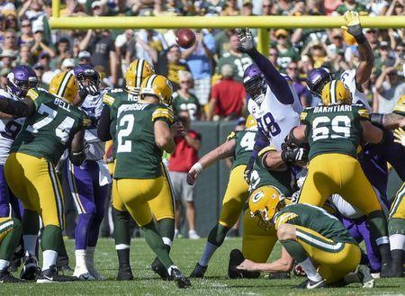 Sep 16, 2018; Green Bay, WI, USA; Green Bay Packers kicker Mason Crosby (2) misses a field goal attempt late in the fourth quarter during the game against the Minnesota Vikings at Lambeau Field. Mandatory Credit: Benny Sieu-USA TODAY Sports