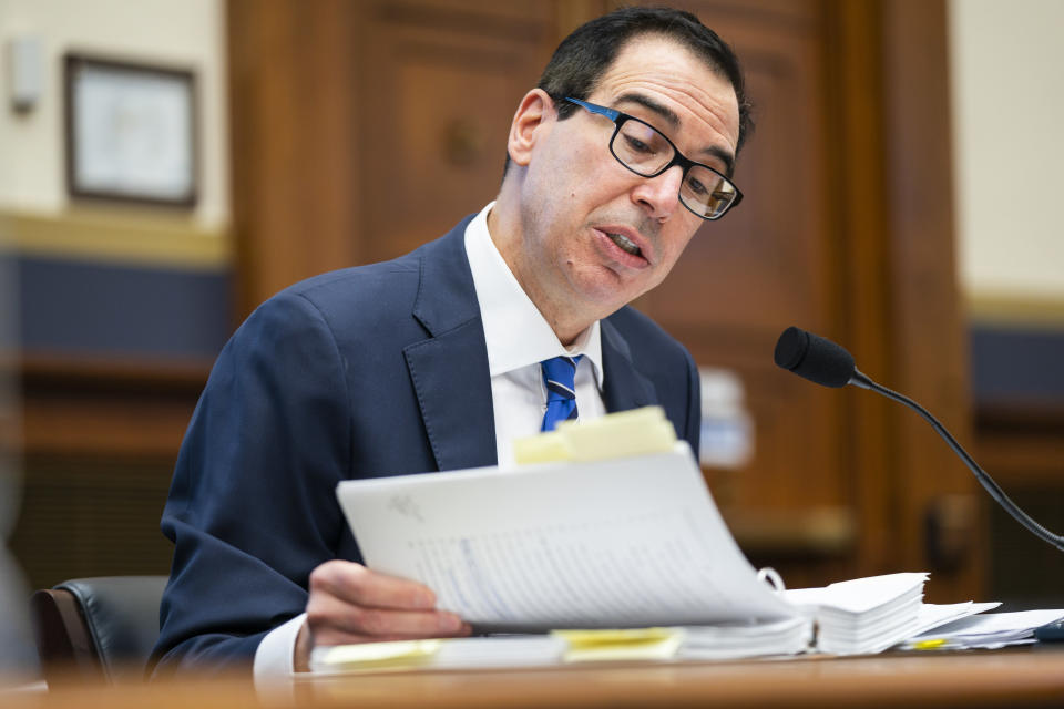 Treasury Secretary Steven Mnuchin testifies before a House Financial Services Committee hearing on Capitol Hill in Washington, Wednesday, Dec. 2, 2020. (Jim Lo Scalzo/Pool via AP)