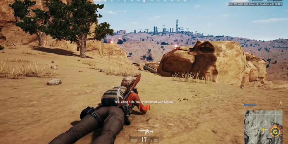 An image of a man on the ground with a gun in the PUBG game. Source: Newsflash/Australscope