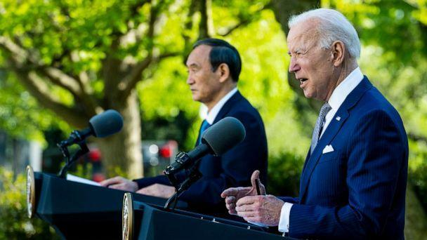 PHOTO: President Joe Biden and Prime Minister Yoshihide Suga of Japan hold a news conference in the Rose Garden of the White House on April 16, 2021. (Doug Mills/Pool via Getty Images)