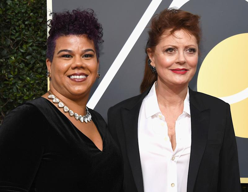 "<a href=""http://rosaclemente.net/biography-of-rosa-clemente/"">Rosa Clemente</a>, who attended the Golden Globes with Susan Sarandon,&nbsp;is an <a href=""http://news.cornell.edu/stories/2017/01/alumna-activist-rosa-clemente-reflect-mlks-legacy"">activist and independent journalist</a> focusing on issues affecting black and Latinx communities. She&rsquo;s the president and founder of <a href=""http://www.thefeministwire.com/2013/07/feminists-we-love-rosa-clemente/"">Know Thy Self Productions</a>, which <a href=""http://rosaclemente.net/biography-of-rosa-clemente/'"">produces</a> community activism tours that center around hip-hop activism, immigrants&rsquo; rights and voter engagement in youth communities of color. <br /><br />In 2008, Clemente was the vice presidential nominee on the Green Party ticket. Today, she is a doctoral student at&nbsp;the University of Massachusetts,&nbsp;Amherst. <br /><br />&ldquo;Our sisterhood is strong, it's always been strong. Now we need men to be allies and accomplices in smashing sexual violence,&rdquo; Clemente said in a red carpet <a href=""https://twitter.com/rosaclemente/status/950327670629265408"">interview with Access Hollywood</a>&nbsp;on Sunday night. &ldquo;It can't just be because you have a daughter or mother, it has to be because we are human beings that deserve the right to dignity, whether we're working on a Hollywood set or we're working at Kentucky Fried Chicken, whether we're a mother in the South Bronx or we're a mother in Beverly Hills.&rdquo;"