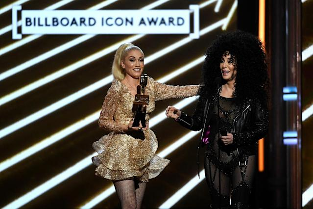 <p>Honoree Cher accepts the Billboard Icon Award from singer Gwen Stefani onstage during the 2017 Billboard Music Awards at T-Mobile Arena on May 21, 2017 in Las Vegas, Nevada. (Photo by Ethan Miller/Getty Images) </p>