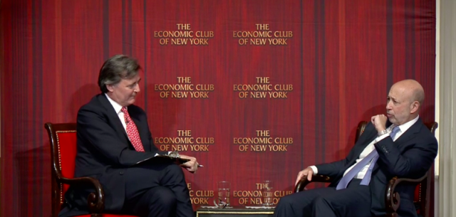 Lloyd Blankfein speaks at the Economic Club of New York.
