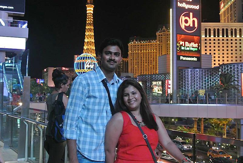 "In this undated photo provided by Kranti Shalia, Srinivas Kuchibhotla, left, poses for photo with his wife Sunayana Dumala in Las Vegas. In the middle of a crowded bar, a 51-year-old former air traffic controller yelled at two Indian men - Kuchibhotla and Alok Madasani - to ""get out of my country,"" witnesses said, then opened fire in an attack that killed one of the men and wounded the other, as well as a third man who tried to help, Thursday, Feb 23, 2017, in Olathe, Kan. (Kranti Shalia via AP)"
