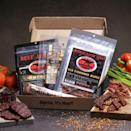 """<p><strong>Man Crates</strong></p><p>mancrates.com</p><p><strong>$49.99</strong></p><p><a href=""""https://go.redirectingat.com?id=74968X1596630&url=https%3A%2F%2Fwww.mancrates.com%2Fstore%2Fproducts%2Fjerky-sampler-jerkygram&sref=https%3A%2F%2Fwww.seventeen.com%2Flife%2Fg23515577%2Fcool-gifts-for-teen-boys%2F"""" rel=""""nofollow noopener"""" target=""""_blank"""" data-ylk=""""slk:Shop Now"""" class=""""link rapid-noclick-resp"""">Shop Now</a></p><p>All he does is eat, so you <em>know </em>he'll get good use out of this present. </p>"""