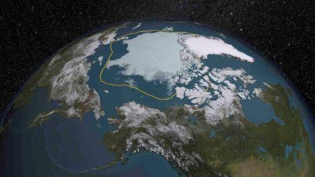 The 2015 Arctic sea ice summertime minimum is 699,000 square miles below the 1981-2010 average, shown here as a gold line in this visual representation of a NASA analysis of satellite data released September 14, 2015. REUTERS/NASA/Goddard Scientific Visualization Studio/Handout via Reuters