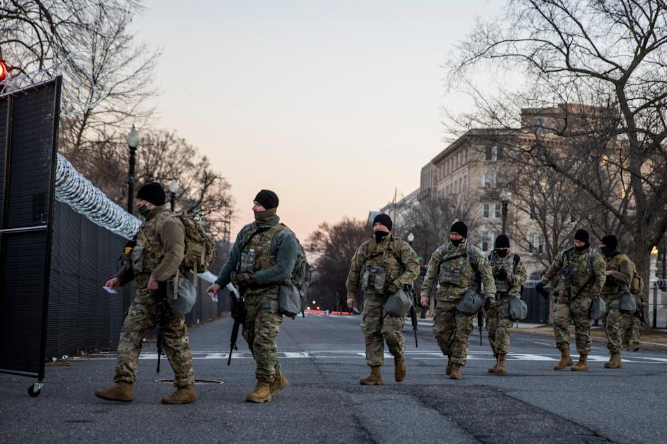 A massive security presence — including thousands of National Guard troops — still surrounds the US Capitol in the wake of the insurrection in January. (Getty Images)