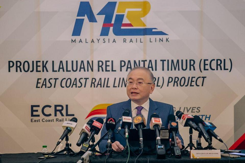Transport Minister Datuk Seri Wee Ka Siong speaks during a press conference in Putrajaya April 5, 2021. — Picture by Firdaus Latif
