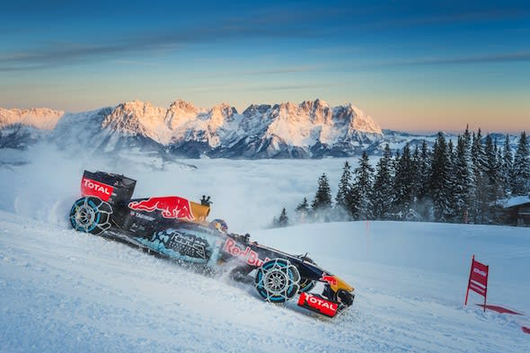 Max Verstappen performs during the F1 Showrun at the Hahnenkamm in Kitzbuehel, Austria on Jannuary 14, 2016. // Philip Platzer/Red Bull Content Pool // P-20160114-00286 // Usage for editorial use only // Please go to www.redbullcontentpool.com for further information. //