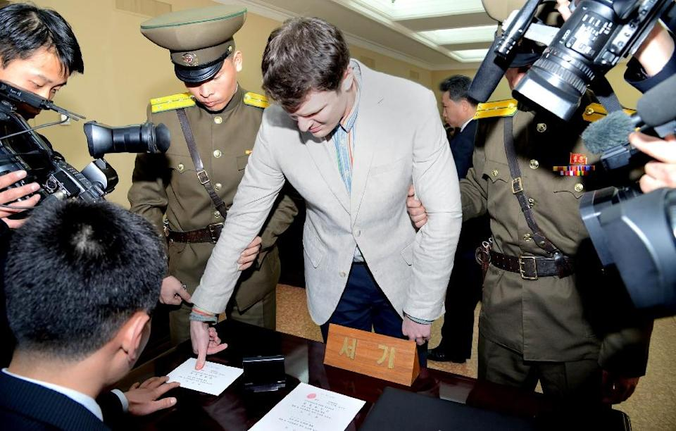 Otto Warmbier was jailed in North Korea for more than a year and the exact cause of his death shortly after returning home to the US remains unknown (AFP Photo/KCNA)