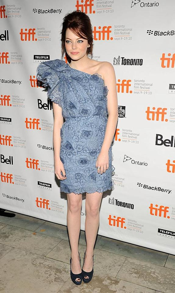 "Emma Stone is super cute and we can't wait to see her new rom-com, ""Easy A,"" but the 21-year-old looked like a granny on the verge of toppling over in the matronly, asymmetrical dress and updo she sported to the flick's premiere at the Toronto International Film Festival. Toby Canham/<a href=""http://www.gettyimages.com/"" target=""new"">GettyImages.com</a> - September 11, 2010"
