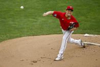 Minnesota Twins starting pitcher Kenta Maeda throws to the Cleveland Indians in the first inning of a baseball game Saturday, Aug 1, 2020, in Minneapolis. (AP Photo/Bruce Kluckhohn)