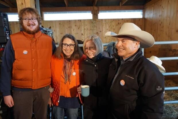 Alberta NDP Leader Rachel Notley campaigned with Cam Gardner (far right) when Gardner ran for the NDP in Livingstone-McLeod in the 2019 provincial election.  (Facebook  - image credit)