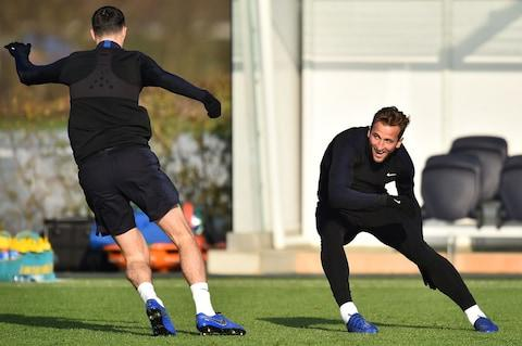 England's striker Harry Kane (R) attends a training session at Tottenham Hotspur's training ground in north London on November 17, - Credit: GLYN KIRK/AFP/Getty Images