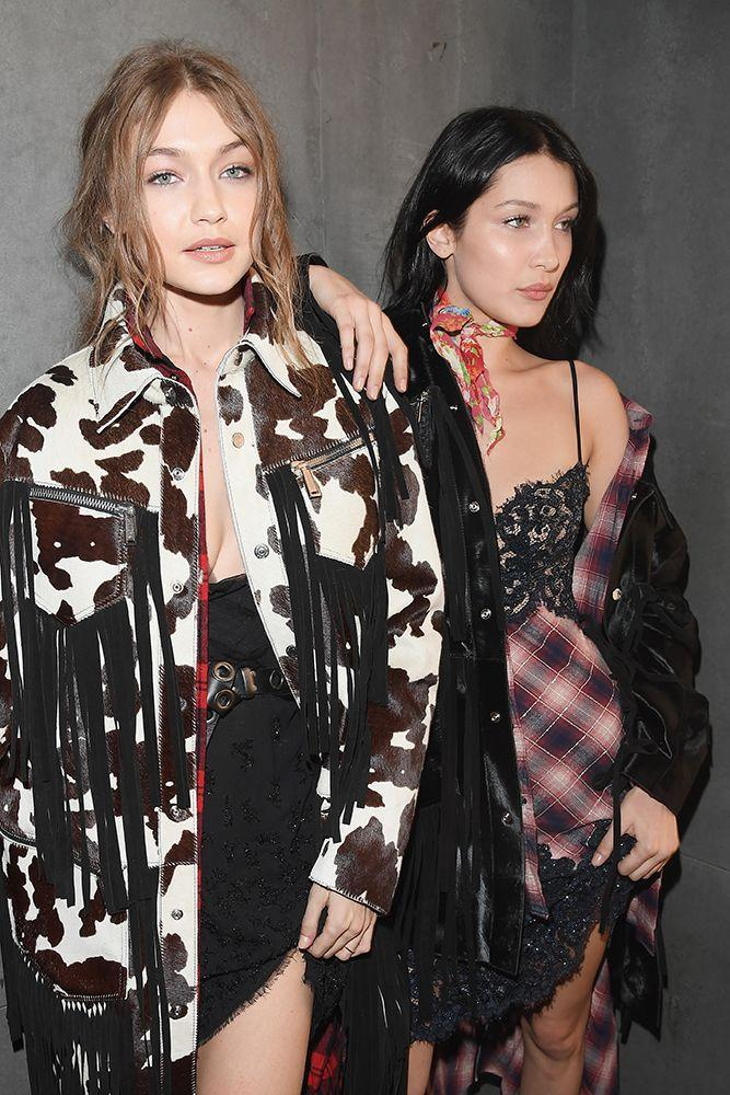 <p>Bella Hadid with sister Gigi kitted out in DSquared2 AW17 at the Volt x DSquared2 party in Milan. </p>
