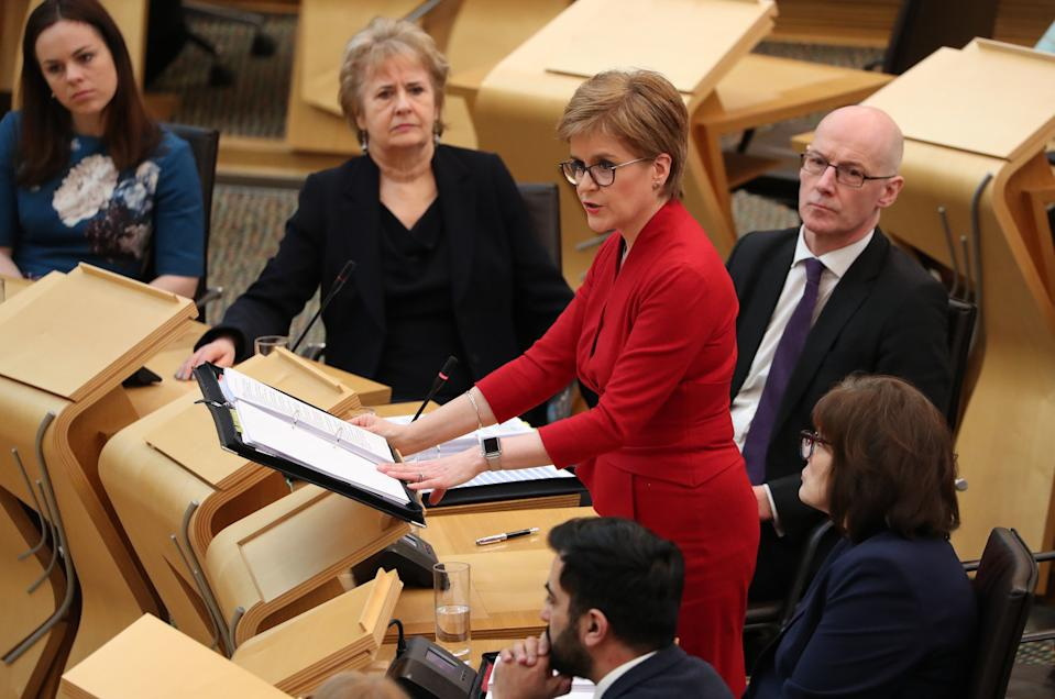 First Minister Nicola Sturgeon in the debating chamber during FMQs at the Scottish Parliament in Edinburgh. PA Photo. Picture date: Thursday March 5, 2020. See PA story SCOTLAND Questions. Photo credit should read: Andrew Milligan/PA Wire