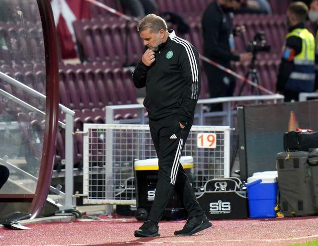 Celtic manager Ange Postecoglou looks frustrated after falling to a 2-1 defeat to Hearts in their cinch Premiership opener