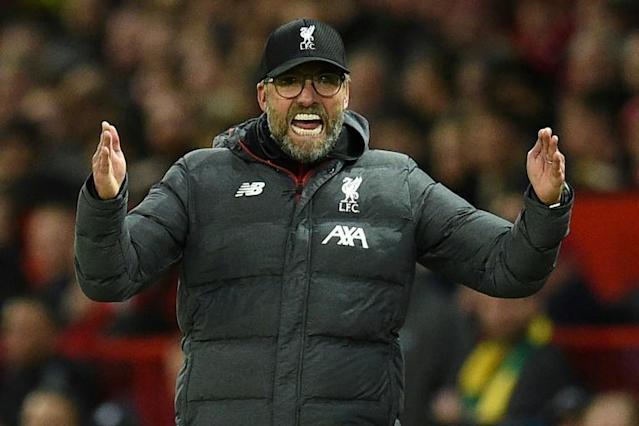 Liverpool manager Jurgen Klopp was frustrated by Manchester United's goal (AFP Photo/Oli SCARFF )