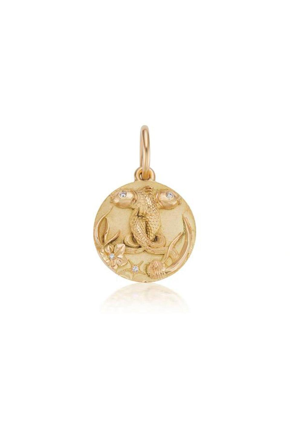 """<p><strong>Briony Raymond</strong></p><p>brionyraymond.com</p><p><strong>$2800.00</strong></p><p><a href=""""https://brionyraymond.com/collections/zodiac/products/mini-pisces-zodiac-medallion"""" rel=""""nofollow noopener"""" target=""""_blank"""" data-ylk=""""slk:Shop Now"""" class=""""link rapid-noclick-resp"""">Shop Now</a></p><p>In addition to specializing in the acquisition of estate jewelry and in bespoke commisions, Briony Raymond designs for her own namesake line of chic, understated classics, like this customizable zodiac pendant.</p>"""