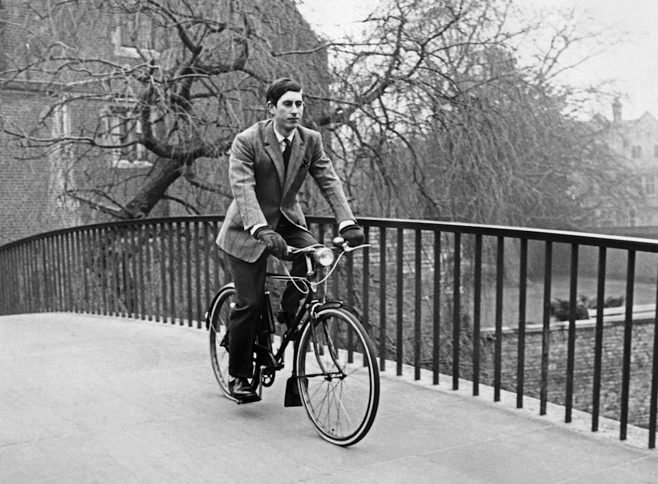 Charles on his bicycle in Cambridge in May 1969. The city is known for being a haven for cyclists. (Central Press/AFP via Getty Images)